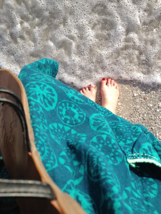 barefoot on the beach