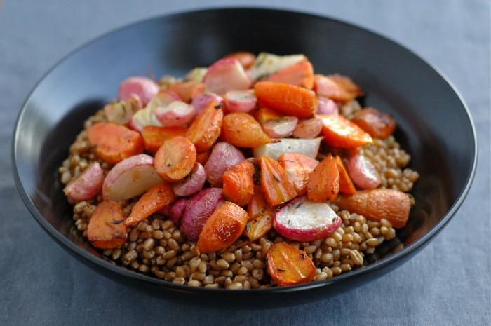 Carrot, Radish + Wheat Berry Bowl // Delightful Crumb