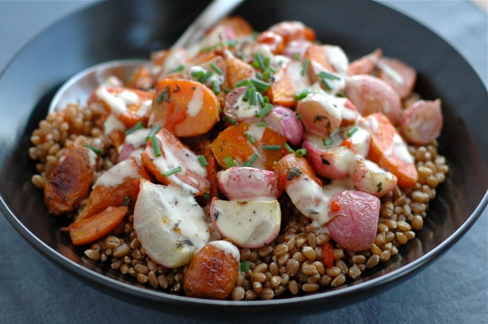 Carrot, Radish + Wheat Berry Bowl // Delightful Crumb