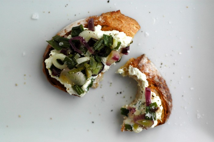 Lemon Ricotta Toasts with Spring Onions // Delightful Crumb
