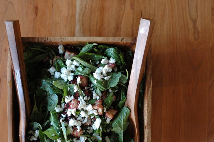 Bread Salad with Cherries, Arugula & Goat Cheese // Delightful Crumb