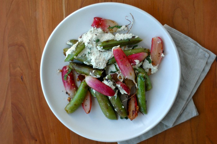 Blistered Snap Peas & Radishes with Lemon-Mint Cashew Ricotta // Delightful Crumb