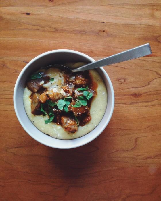 Eggplant sauce & polenta | Delightful Crumb