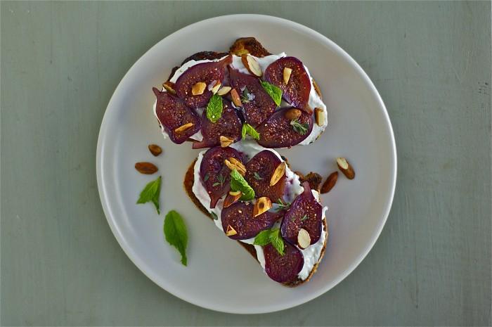 Wine-Poached Figs on Ricotta Toast | Delightful Crumb