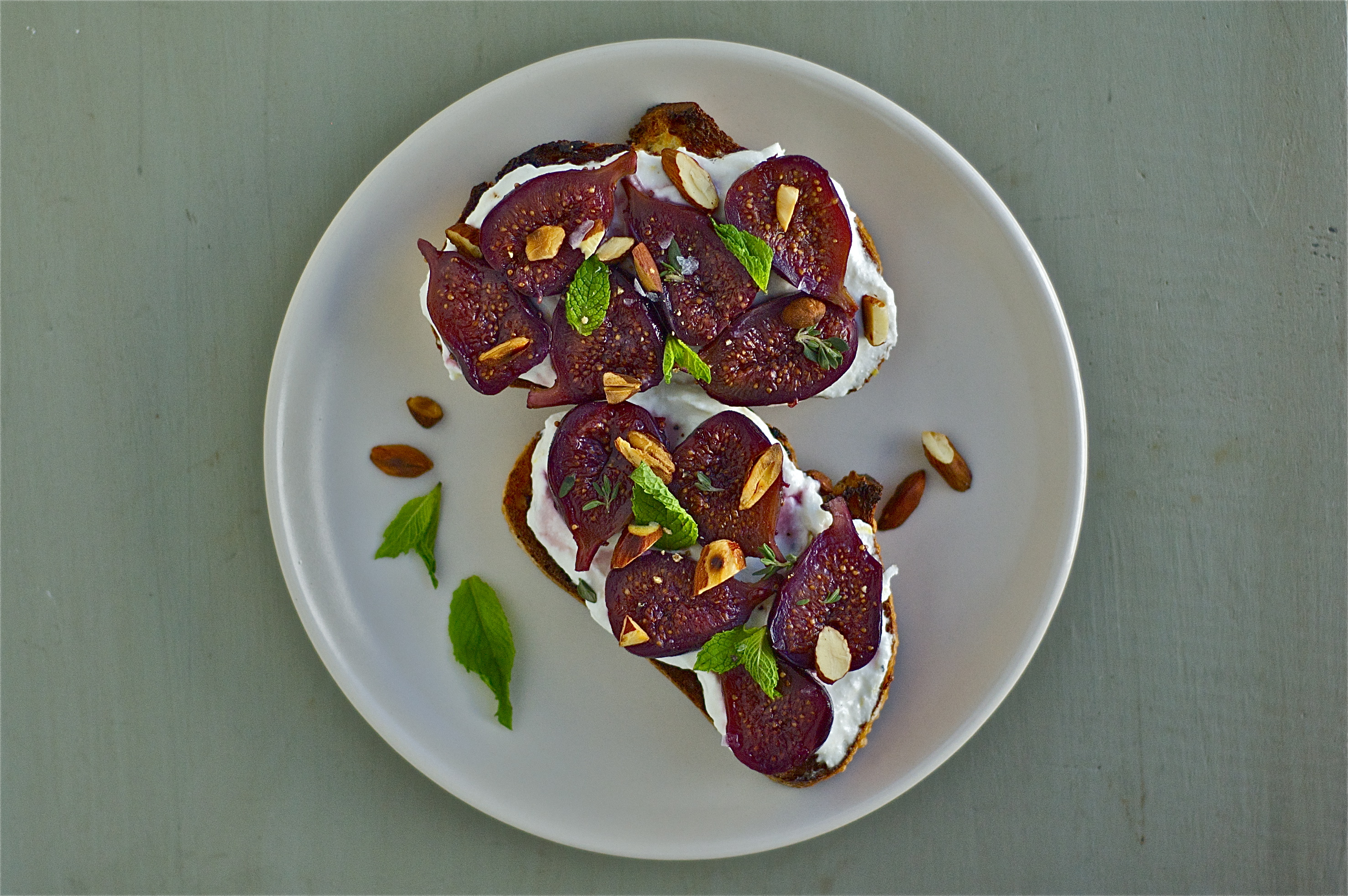 Wine-Poached Figs on Ricotta Toast | Delightful Crumb