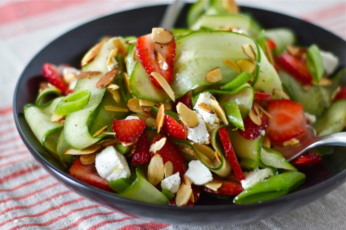 Strawberry & Cucumber Ribbon Salad | Delightful Crumb