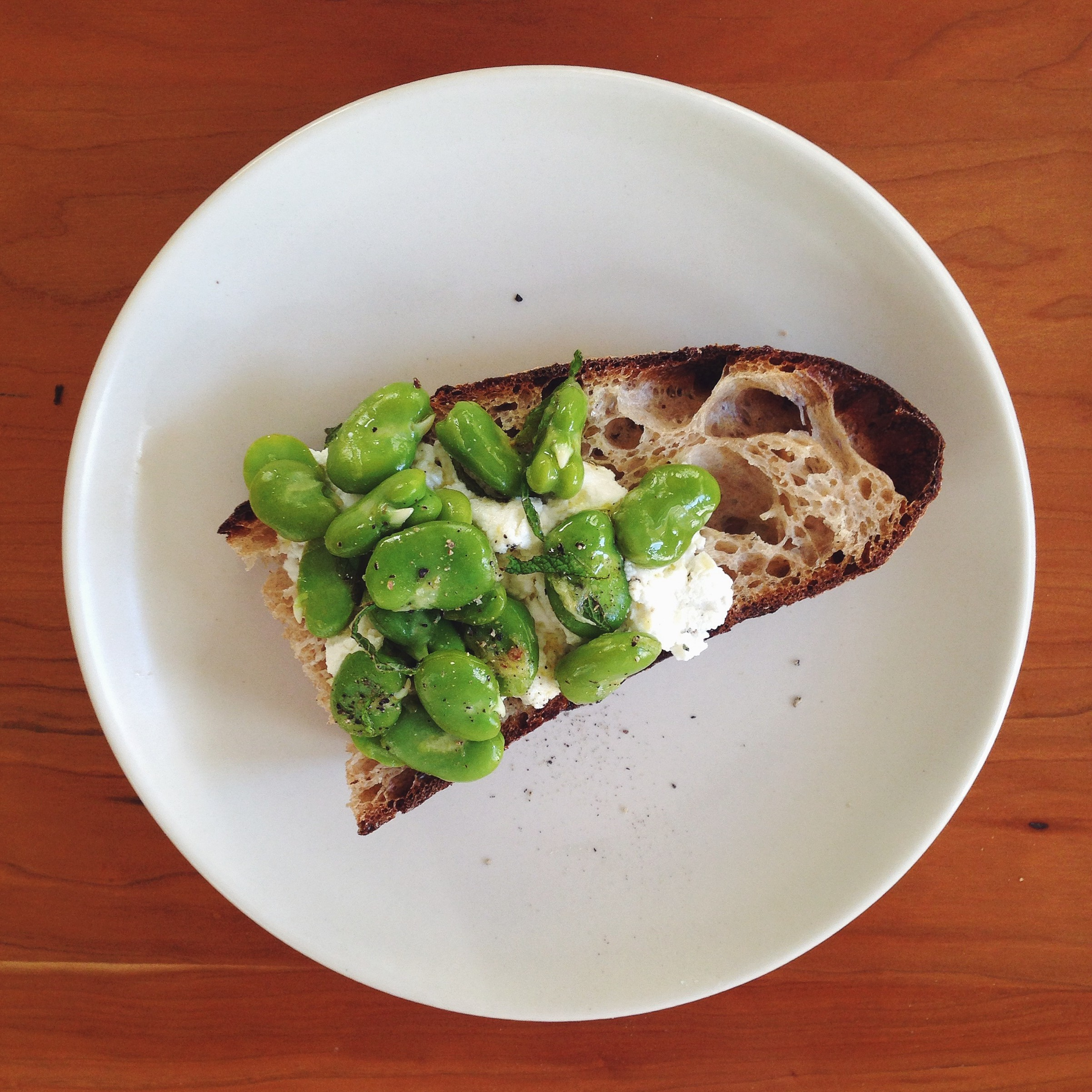 Marinated Favas with Ricotta & Toast | Delightful Crumb