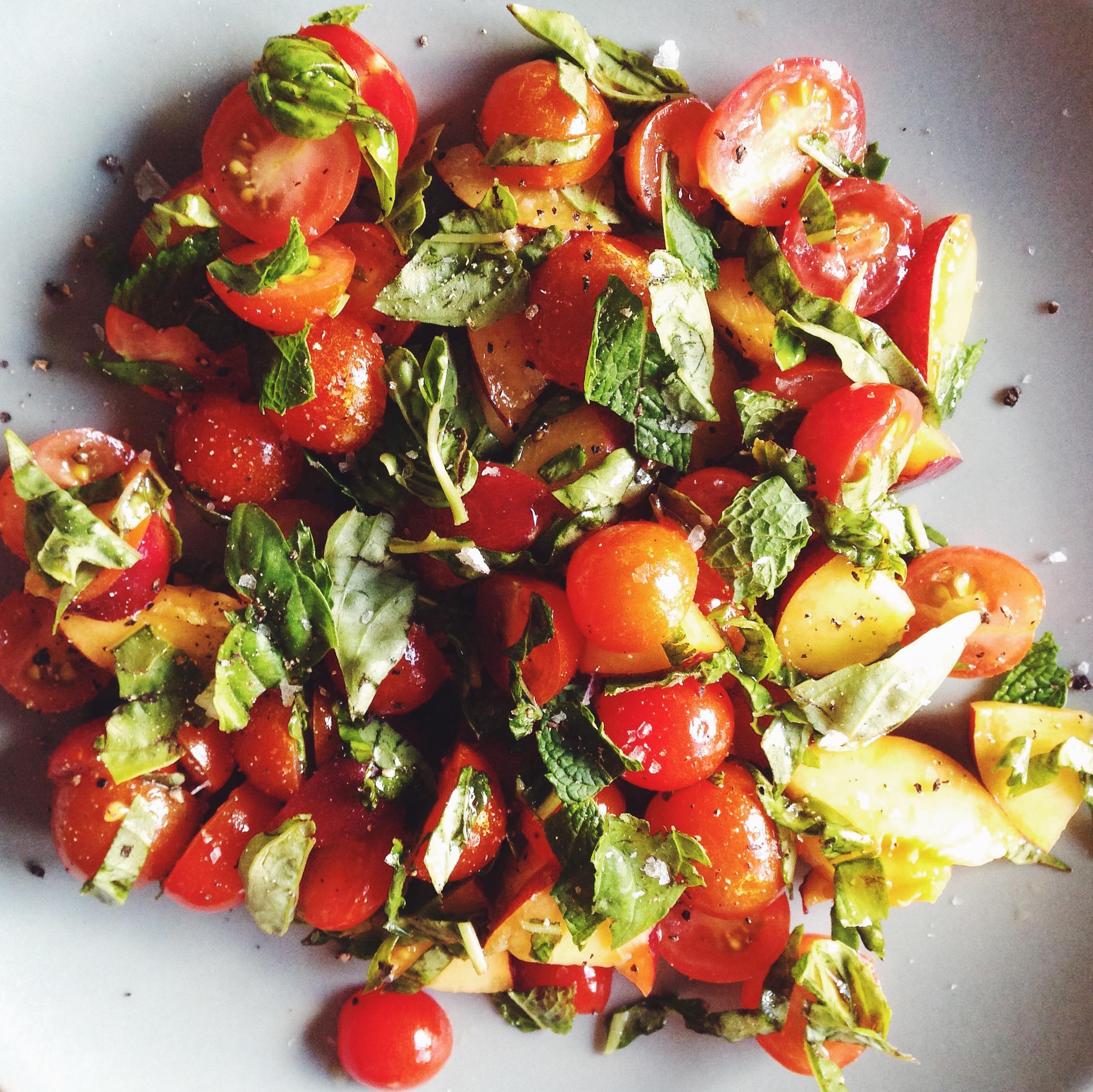 Tomato & Nectarine Salad   Delightful Crumb