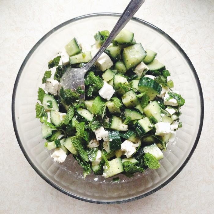 Cucumber, Feta & Mint Salad | Delightful Crumb