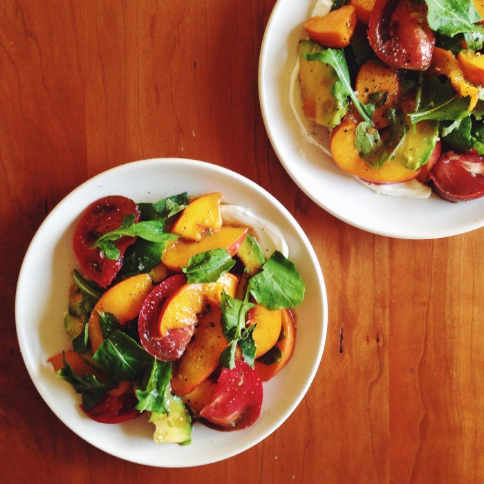Tomatoes, Pickled Peach & Labneh | Delightful Crumb