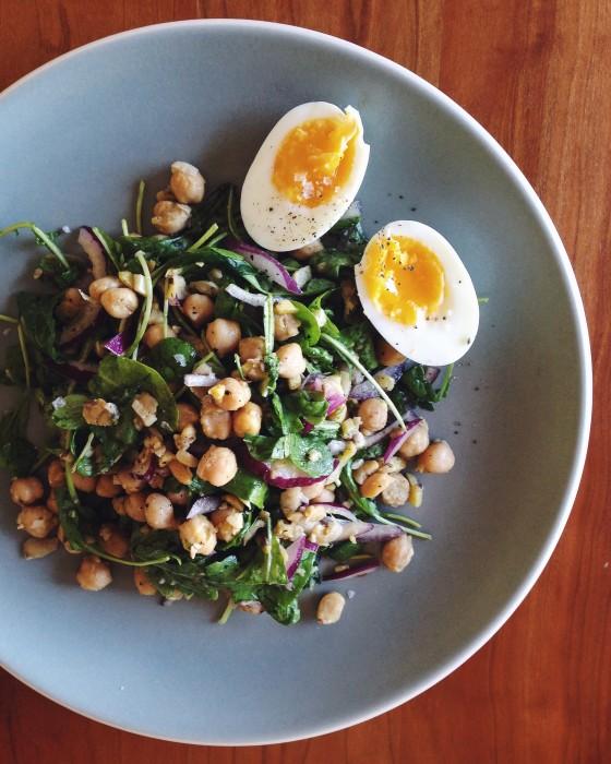 Warm Chickpea Salad with Arugula | Delightful Crumb