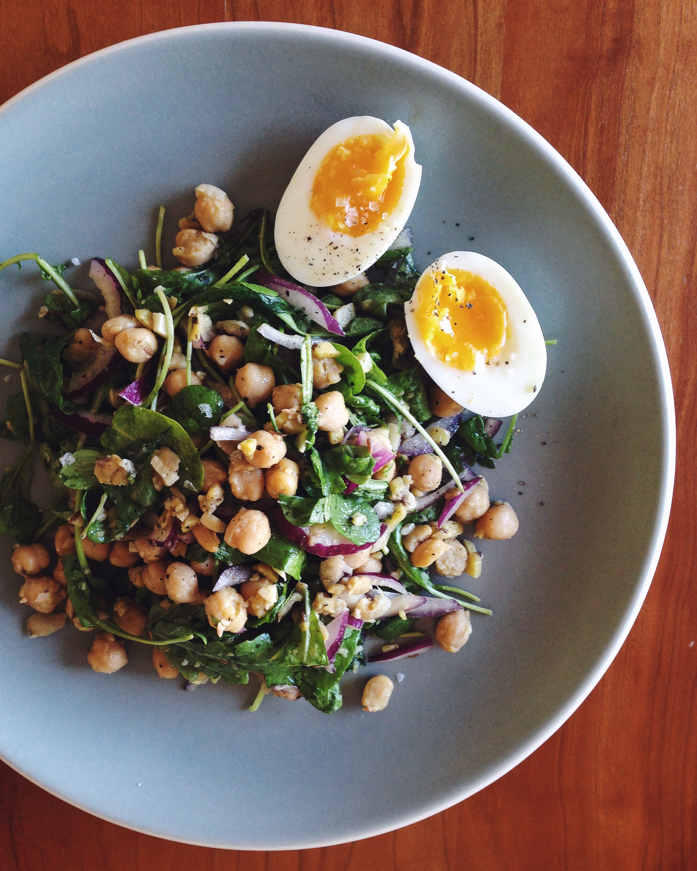 Warm Chickpea Salad with Arugula | Delightful Crumb
