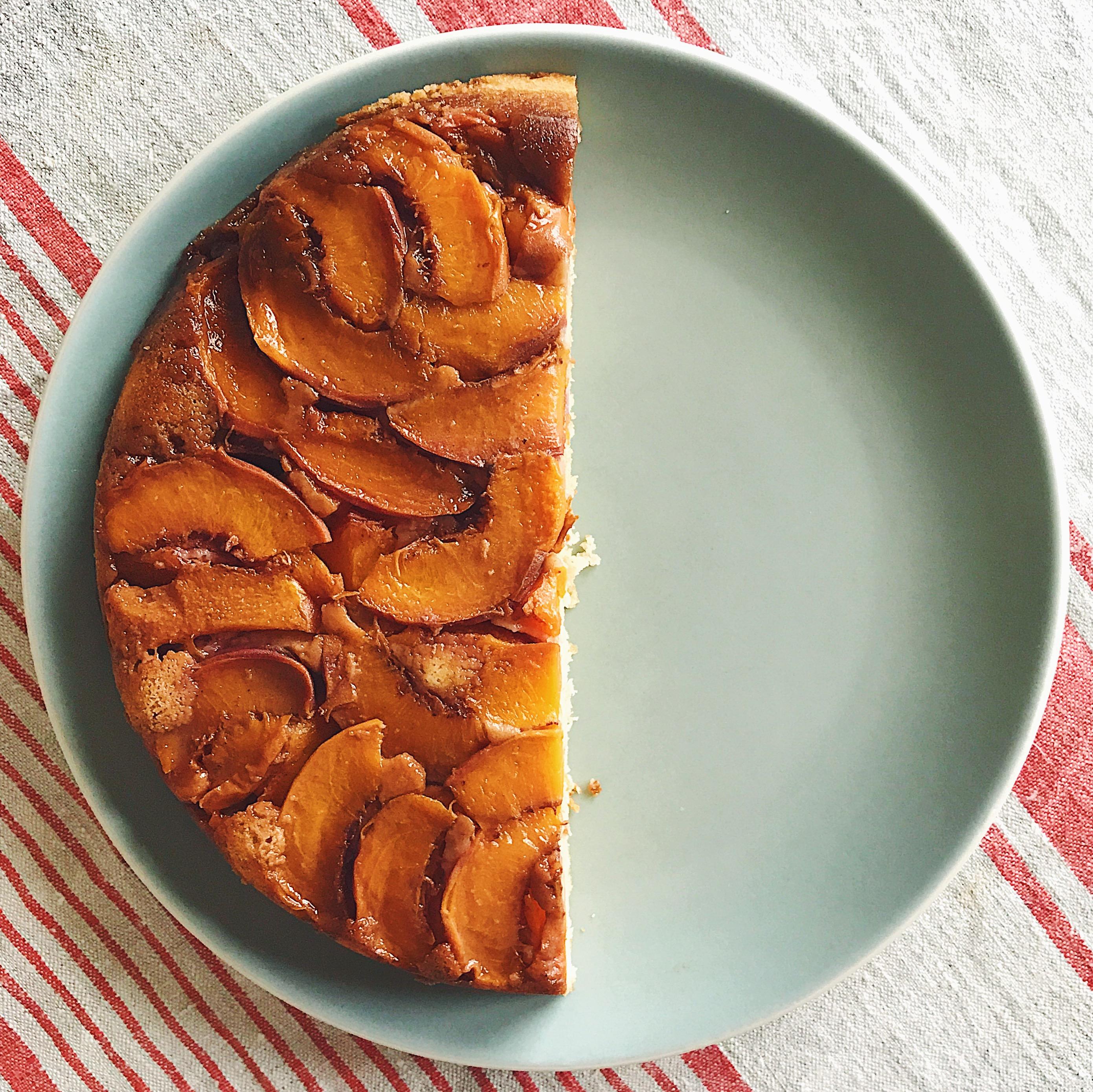 Peach Upside-Down Skillet Cake   Delightful Crumb