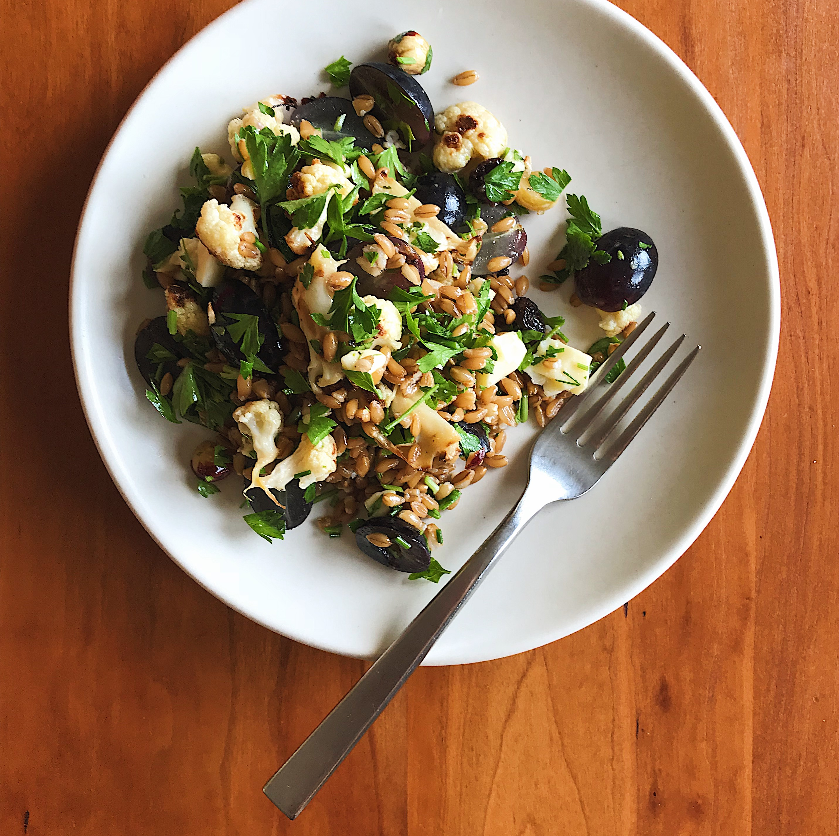 Cauliflower, Grape & Cheddar Salad | Delightful Crumb