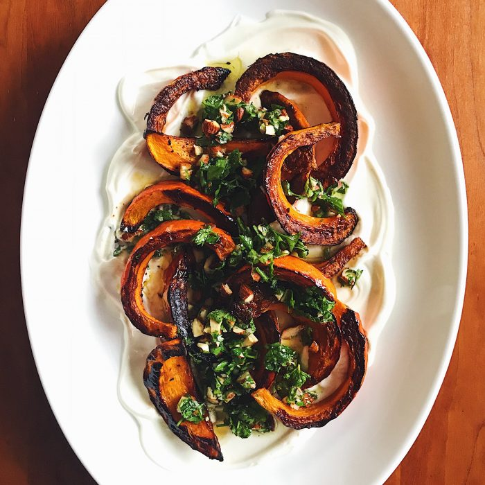 Roast Squash with Yogurt & Gremolata | Delightful Crumb