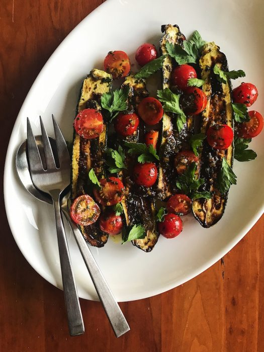 Zucchini with Caper-Raisin Vinaigrette | Delightful Crumb