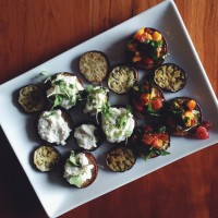 for making memories | eggplant rounds with summer toppings