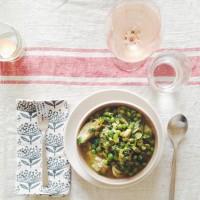 Familiar Rhythms | Stewed Favas, Peas & Little Gems with Parmesan Rice