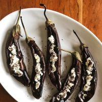 Shouts & Whispers | Roast Eggplants with Goat Cheese & Sumac